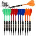 SHOT TAKER CO. EST. 2017 Soft Tip Darts Set |12 pc Bar Darts | 50 Extra Black 2BA Tips | 3 of Each Colour| Perfect Fun Darts for 4 Players on Electronic and Plastic Dartboard (18g Black Brass) 10429