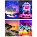HOMERDAIRY 4 Packs DIY 5D Diamond Painting Kits for Adults, Perfect Gifts Round Full Drill Crystal Rhinestone Embroidery Cross Stitch Diamond Arts for Home Wall Decor
