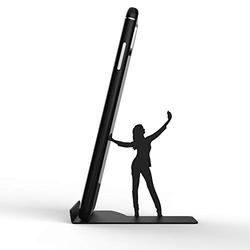 Phone Holder for Cell Phone - Cell Phone Holder for Desk, Suitable as Phone Stand, Tablet Stand, etc. - Metal Cellphone Stand for Desk - BZ Smartphone Stand (Black Selfie Stephi)