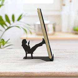 Phone Holder for Cell Phone - Cell Phone Holder for Desk, Suitable as Phone Stand, Tablet Stand, etc. - Metal Cellphone Stand for Desk - BZ Smartphone Stand (Black Chatty Patty)