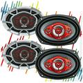 4X SoundXtreme ST-694 Systems NX694 Car Speakers - 1040 Watts 2 Pair, 520 Watts Each Pair , 6 x 9 Inch, Full Range, 4 Way, Sold in Pairs