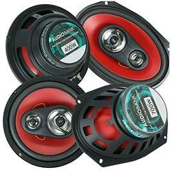 "Pair of Audiobank AB6970 6X9 700 Watts 3-Way and Pair of Audiobank AB1673 6.5"" 400 Watts 3-Way Blue Car Audio Stereo Coaxial Speakers -Total 4 Car Audio Speakers"