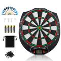 meicent Electronic Dart Board Set Indoor Outdoor Dart Board Game Set with 12 Darts, 120 Dart Tips, LCD Display, 18 Modes, 159 Ways of Playing Dartboard Family Party Leisure Sports Games Gifts