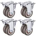 4 x Castor Wheels,Heavy Duty Double Wheel Castors Wheels,Mute Castors Wheels,Swivel Rubber Casters with Brake,Trolley Furniture Caster,Load 200kg,with Screws(directional1.5inch)