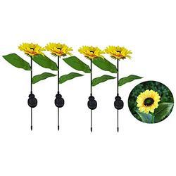 Solar Sunflowers Lights - Solar Lights Outdoor,Sunflower Garden Decor,Outdoor Lighting Waterproof Solar Garden Lights Decorative Stake for Court Yard, Front , Patio, Balcony(4 Pack)
