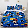 Haonsy Mickey Minnie Mouse Bedding, Kids 3 Piece Bedding Set Queen Size, 1 Duvet Cover & 2 Pillow Shams with Zipper Closure, Cartoon Mickey Minnie Mouse