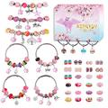 Aipridy 124 Pcs DIY Jewelry Making Kit Gift for Adults and Kids, European Lampwork Beads Metal Spacer Beads Rhinestone Supplies for Charms Bracelets Making kit(Pink)