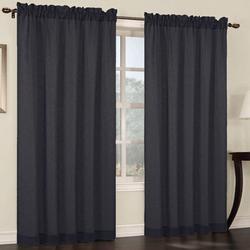 Breakwater Bay Baylee Faux Linen Solid Sheer Rod Pocket Curtain Panels in Black/Brown, Size 63.0 H in | Wayfair BKWT2320 40250333
