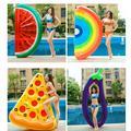 Anneau de natation gonflable géant arc-en-ciel, Pizza, banane, pour adultes, flotteur, matelas,