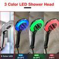 Pommeau de douche à affichage numérique LCD réglable en 3 modes 3 couleurs, LED couleurs, capteur de