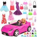 Accessoires de poupée faits à la main, 26 articles/ensemble, 1 voiture jouet, 5 vêtements de poupées