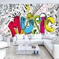 Papier peint Photo thème musique créative moderne   Graffiti 3D, Mural pour salon KTV, chambre