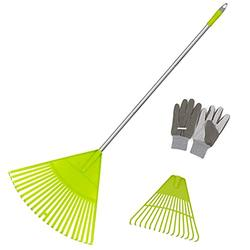 Colwelt Plastic Leaf Rake Set, Poly Shrub Rake with Lightweight Stainless Steel Handle, Durable Plastic Head 22Tines & 15Tines & Garden Gloves, Lawn Rake to Collect Loose Debris Among Lawns & Yards