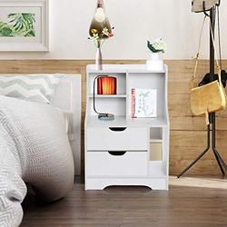 AMZFDC Side Table with Storage, Freestanding Storage Cabinet Side Accent Table Nordic Simple Nightstand White Night Stand, Side End Wood Bedside Tables with Drawer for Bedroom Livingroom (White)