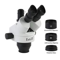 CHUNSHENN 7X-45X Continuous Zoom Simul Focal Trinocular Stereo Microscope Head+1X/0.5X/2X Objective Lens+1X Adapter For PCB Repair (Color : 3.5X 90X)