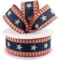 "Patriotic Ribbon - 1 1/2"" x 10 Yards, American Flag Wired Ribbon-Gift wrapping supplies -Ribbons for presents -Packaging ribbon -Color ribbon -Ribbon rolls -Gift wrap ribbons-Birthday party decoration"
