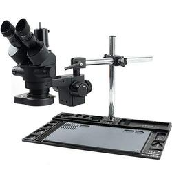 CHUNSHENN 3.5X-90X Continuous Zoom Simul Focal Trinocular Stereo Microscope 144 LED Ring Light Phone Repair Platform For PCB Soldering (Color : B, Magnification : 7 90X (1X 2X))