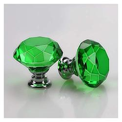 handle Crystal Knobs, 40 mm Diamond Drawer Cabinet Door Pull Crystal Door with Screws for Home Kitchen Office Chest Bin, Dresser(10 Pcs) (Color : Green)