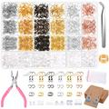 Earring Hooks Making Supplies, 2000 Pcs Jewelry Kit with Earring Card Holders, Fish Hook Earrings, Jewelry Plier, Earring Backs, Jump Ring Opener, Tweezers for Jewelry Making Earring Findings Repair