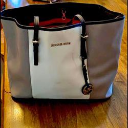 Michael Kors Bags   Michael Kors Handbag, Mk Bag, Michael Kors, Tote   Color: Gray/White   Size: Os