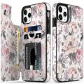 """LETO iPhone 12 Pro Max Case,Luxury Flip Folio Leather Wallet Case Cover with Fashion Designs for Girls Women,Card Slots Kickstand,Protective Phone Case for iPhone 12 Pro Max 6.7"""" Champagne Flowers"""