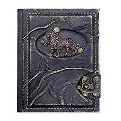 Lion Model Leather Notebook - Handmade Genuine Leather - Rustic Handmade Vintage Leather Bound Journals for Men and Women - Leather Book Diary Pocket Notebook, 4.7x6 inch 240 pages (black)