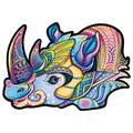 Alabohuke Wooden Jigsaw Puzzles–Unique Shape Pieces Jigsaw Puzzles, Puzzle Animal Jigsaw Wooden Puzzles for Adults - Best for Family Game Play Collection,Rhino,S