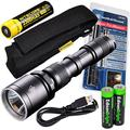 Nitecore MH25 CREE XM-L U2 LED 960 Lumen USB Rechargeable Flashlight, Smith & Wesson PathMarker LED Flashlight, 18650 rechargeable Li-ion battery, USB charging cable and Holster with 2 X EdisonBright AA Alkaline batteries bundle