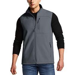 TSLA Men's Sleeveless Softshell Vest, Full-Zip Windbreaker Vest, Outdoor Golf Travel Hiking Vest, Vest(ykj71) - Grey, Small
