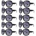 Retro Oversized Sunglasses Bulk for Women,Vintage Big Frame Sunglasses Pack for Party,Large Black Sunglasses Set of 10 Ladies Shades