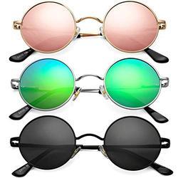 Braylenz 3 Pack Trendy Small Round Polarized Sunglasses for Women Men, Retro John Lennon Hippie Style Shades Glasses (Gold/Pink Mirrored Lens+Silver/Green Mirrored Lens+Black)