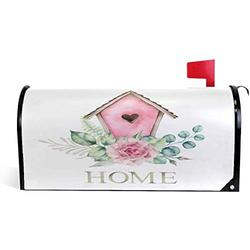 KURITIAN Home Birdhouse with Flowers Mailbox Cover Magnetic Mailbox Wrapped Outdoor Garden Yard Decor Letter Box Cover for Standard Size 20.7 x 18.03 inch Post Box