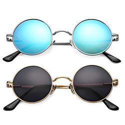 Braylenz 2 Pack Trendy Small Round Polarized Sunglasses for Women Men, Retro John Lennon Hippie Style Shades Glasses (Silver/Blue Mirrored Lens+Gold/Black Lens)
