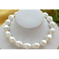 """AAA 20mm White Baroque South Sea Shell Pearl Beads Necklace 18"""""""