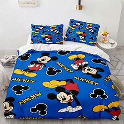 Haonsy Mickey Minnie Mouse Bedding, Kids 3 Piece Bedding Set King Size, 1 Duvet Cover & 2 Pillow Shams with Zipper Closure, Cartoon Mickey Minnie Mouse