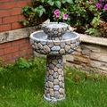 "Glitzhome 2-Tier Stone Like Patio Fountain Waterfall Outdoor Water Fountain with Bird Bath Decor Garden Waterfall Patio Water Fountain with Pump for Garden Yard Patio Deck Porch, 24.41""H"