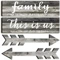 Jetec 4 Pieces This is Us Rustic Print Wooden Signs Wooden Family Signs Family Wooden Hanging Sign Decorations for Home Bedroom Living Room Kitchen Laundry, 15 x 4 x 0.2 Inch (Antique Cyan)