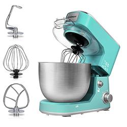 Stand Mixer, Cusimax Dough Mixer Tilt-Head Electric Mixer with 5-Quart Stainless Steel Bowl, Dough Hook, Mixing Beater and Whisk, Splash Guard, Green Food Mixer