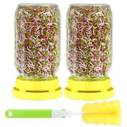 Sprouting Jar Kit - Seed Sprout Growing Set Includes 2pcs Wide Mouth Mason Jar,2pcs Stainless Steel Screen Lid,2pcs Plastic Drip Tray and Cleaning Brush For Growing Broccoli,Alfalfa,And Bean Sprouts