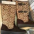 Coach Shoes   Coach Tinah: Leather & C Logo Boots Sz: 10m   Color: Brown/Tan   Size: 10