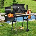 "HALLOLURE 45.5"" BBQ Barrel Charcoal Grill w/ SmokerStainless Steel/Steel in Black/Gray, Size 42.5 H x 45.5 W x 25.5 D in | Wayfair WFSYF75615"