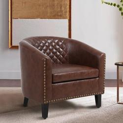 "Red Barrel Studio® Gabrand 25.2"" Wide Barrel ChairFaux Leather in Brown, Size 27.95 H x 25.2 W x 29.13 D in | Wayfair"