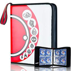 4-Pocket Card Binder for Pokemon Trading Card with 50 Removable Card Sleeves, Carrying Zipper Card Holder Binder Holds 400 Cards
