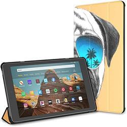 Kindle Case Pu Leather Smart Cover Hand Drawn Portrait Pug Dog Mirror Case for Kindle Fire Hd 10 Kindle Fire Hd 10 Inch Tablet Case(9th Gen 2019/7th Gen 2017) with Auto Wake/Sleep