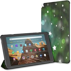 Kindle Case Pu Leather Smart Cover Light Blue Green Vector Template Circles Case for Kindle Fire Hd 10 Kindle Fire Hd 10 Inch Tablet Case(9th Gen 2019/7th Gen 2017) with Auto Wake/Sleep