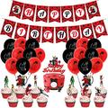 KELEQI Ladybug Birthday Party Decorations Set Ladybug Birthday Cake Topper and Banner Black Red Latex Balloon for Ladybug Theme Party Supplies