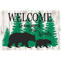 Dyenamic Art Welcome to Our Neck of The Woods Welcome Metal Sign 12x18 Indoor/Outdoor Bear Sign Aluminum Sign Cabin Decor Easy Hanging Made in USA