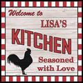 "PotteLove Lisa'S Kitchen Welcome to Rooster Chic Wall Art Decor Metal Signs 12"" X 12"""