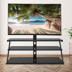 shanglixiansenxinmaoyi Universal Three-Layer Tempered Glass Metal Frame TV Stand in Black, Size 49.2 H x 60.0 W x 17.3 D in | Wayfair wm-19744