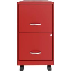 Lorell SOHO File/File Mobile File Cabinet Metal/Steel in Red, Size 27.0 H x 14.0 W x 18.0 D in | Wayfair LLR00061RD